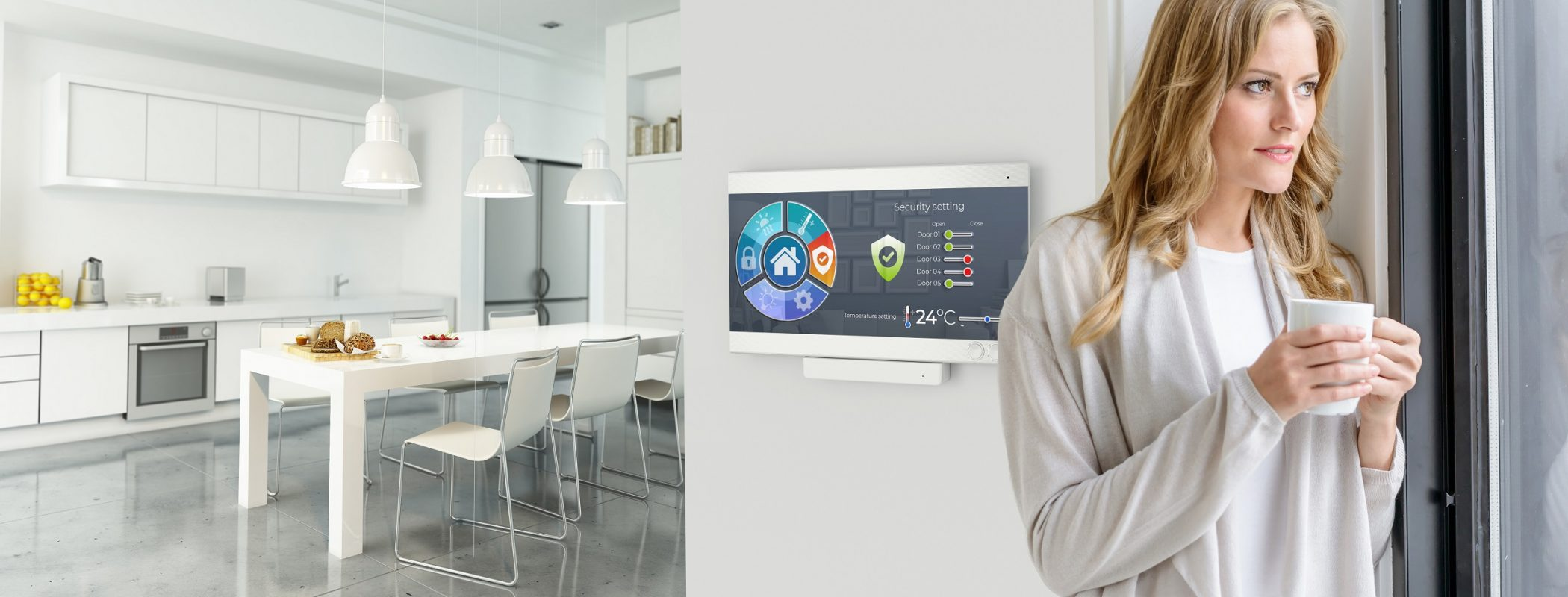 Woman having coffee by a Home automation control station in a modern home
